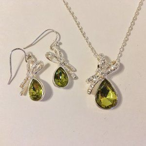 Jewelry - Olive Green Necklace Earrings Set Silver Metal